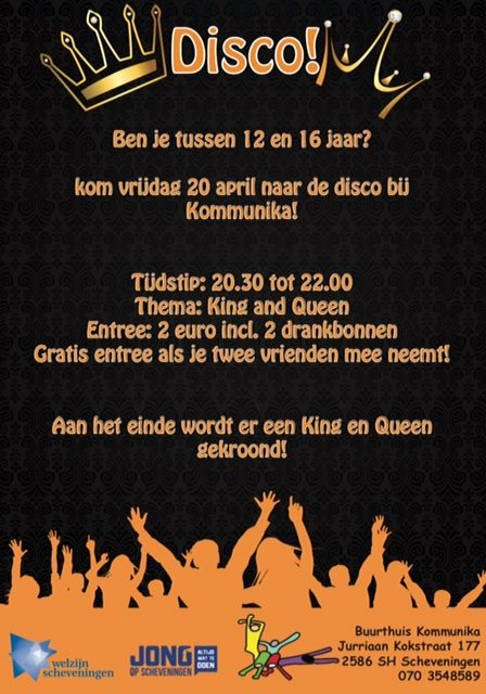 Vrijdag 20 april Disco in Kommunika